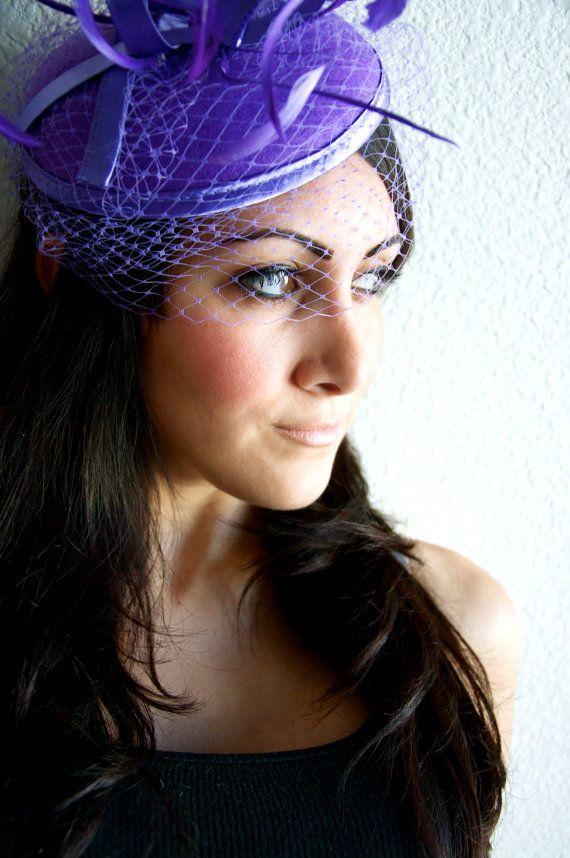 Purple Fascinator - Purple Round Felt Sinamay Hat w/ Feathers and Satin Ribbons