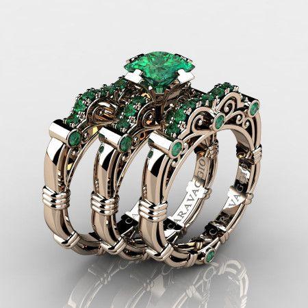 f074e01fd Art-Masters-Caravaggio-Trio-14K-Rose-Gold-1-25-Carat-Princess-Emerald- Engagement-Ring-Wedding-Band-Set-R623PS3-14KRGEM-P