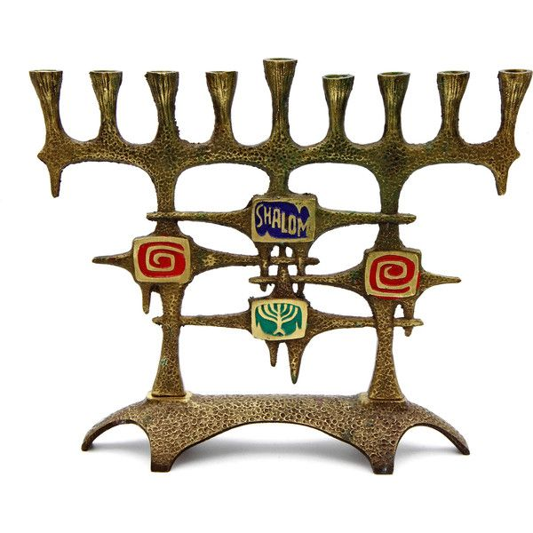 Dayagi Israel Hanukiah, 9 Branches Judaica Candelabra, Brutalist Metal... ($62) ❤ liked on Polyvore featuring home, home decor, candles & candleholders, metal candlestick holders, brass menorah, heart candles, branch candle holder and wedding candles