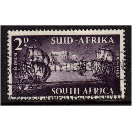 South Africa Scott 117 - SG138, 1952 Tercentenary 2d used stamps sur le France de eBid