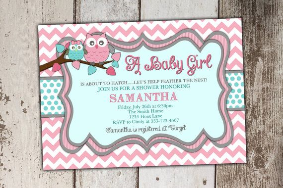 Owl Baby Shower Invitations Girl Pink and Teal by Its4Keeps