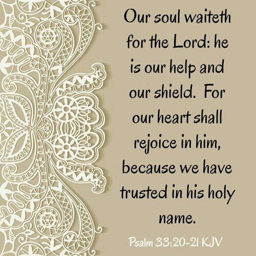 Psalm 33:20-21 KJV