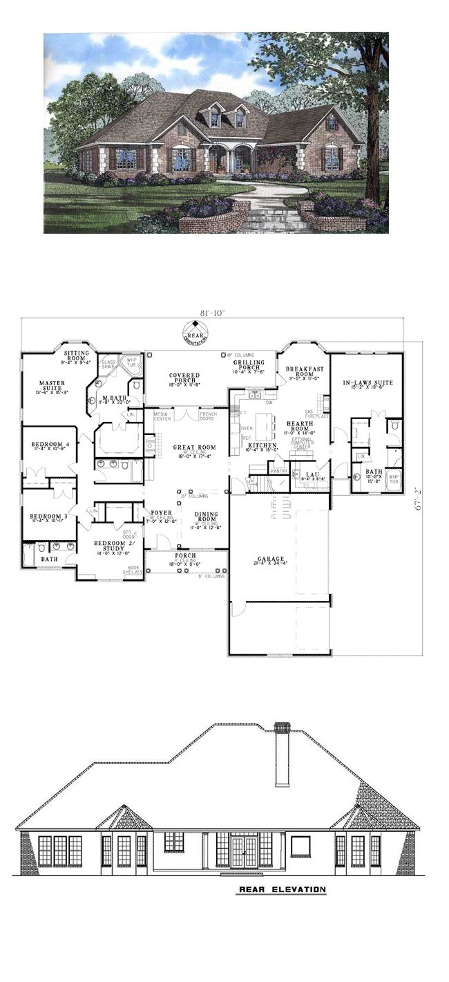 European House Plan 62169 | Total Living Area: 2880 sq. ft., 5 bedrooms & 4 bathrooms