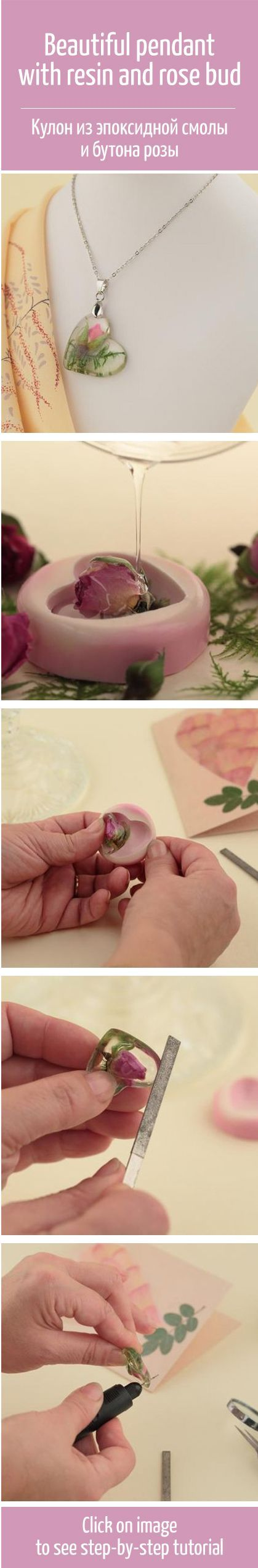 Beautiful pendant with resin and rose bud tutorial /   Цветы навсегда: учимся делать украшения из эпоксидной смолы
