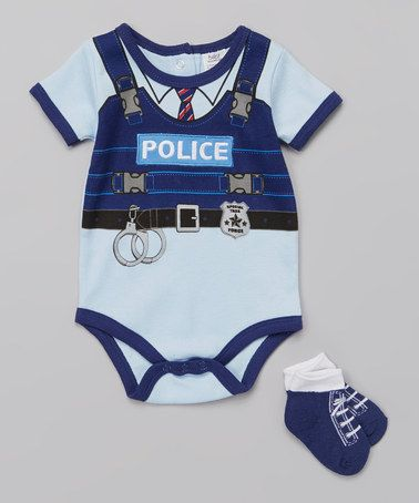 Another great find on #zulily! Blue 'Police' Bodysuit & Socks - Infant by Baby Essentials #zulilyfinds
