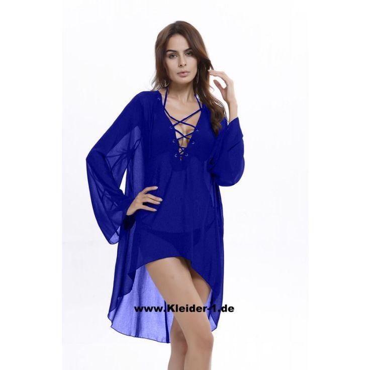 Damen Sommer Strand Kimono Blau