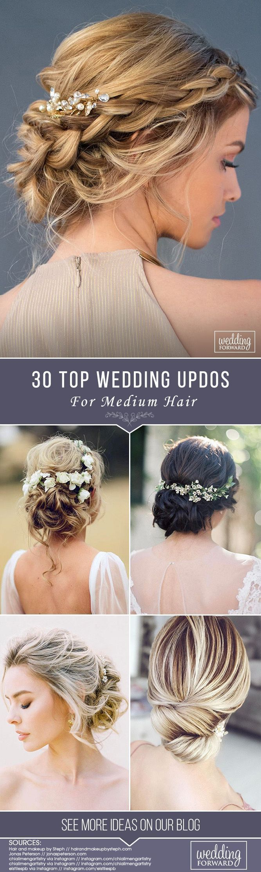 30 Top Hochzeits-Hochsteckfrisuren für mittleres Haar