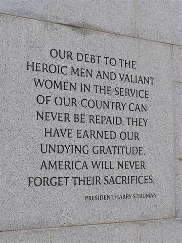 Thank you is not enough for what our soldiers have sacrificed for our country. Please keep them in mind and say a little prayer for them every once in a while for they are the reason we have the freedom to do so.