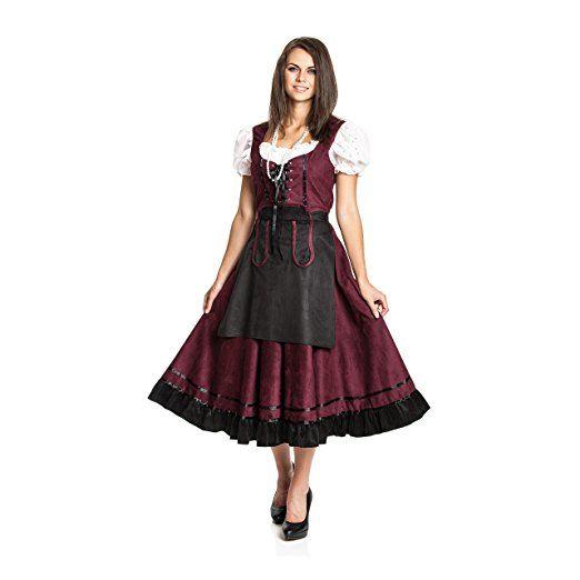 Kostümplanet® Dirndl lang günstig Trachten-Kleid mit Schürze Damen Größe 44/46