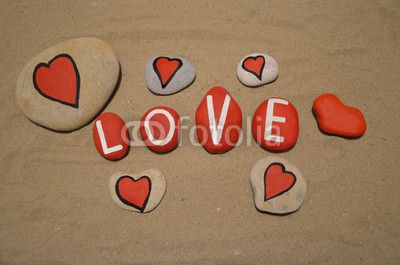 Only love message on painted stones
