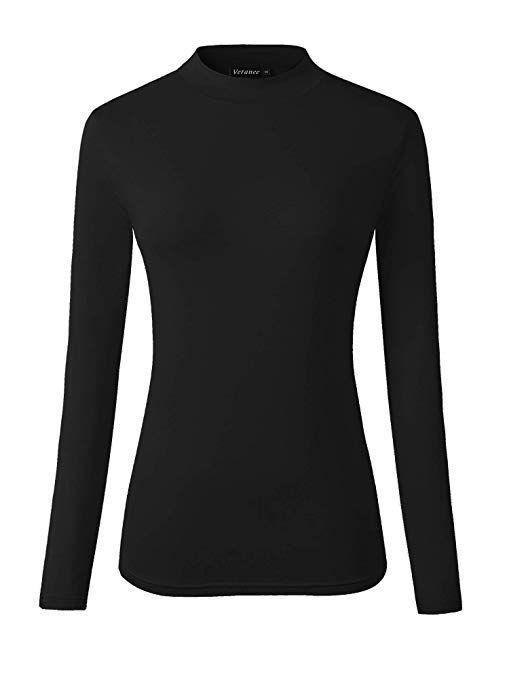 7ec5b0ed Veranee Women's Long Sleeve Slim Fit Turtleneck Basic Layering T-Shirt at  Amazon Women's Clothing store: