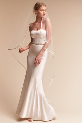 Floor Length Satin Rimmed Bridal Veil BHLDN - Rising Mist Veil