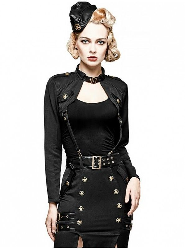 #Monday Special Military Uniform Half Skirt High grade military inspired brass star buttons decorate skirt center front and side pockets in military style. Browse at goo.gl/mUX4At