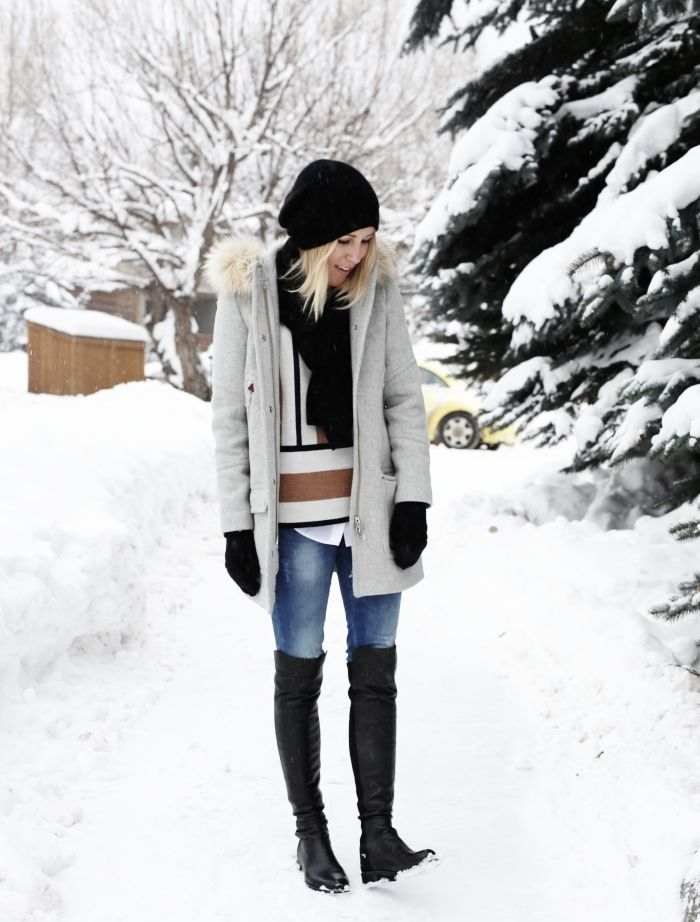 Damsel in Dior | Stuart Weitzman 5050 Boot; Chateau Parka; J.Crew Beanie Hat; Cashmere Glittens; Striped Short Sleeved Sweater; Anine Bing Jeans; Vince White Button Down