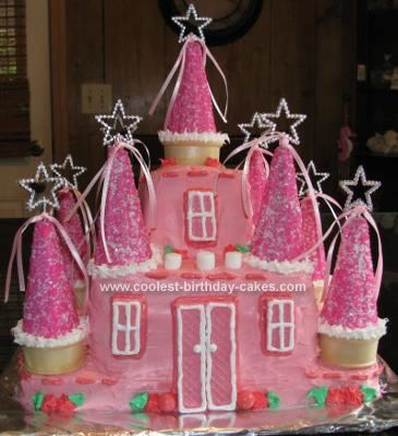 I prepared four 8 square cakes for this Princess Castle Birthday Cake. U then cut off the dome of each cake layer to create a flat even surface. Place