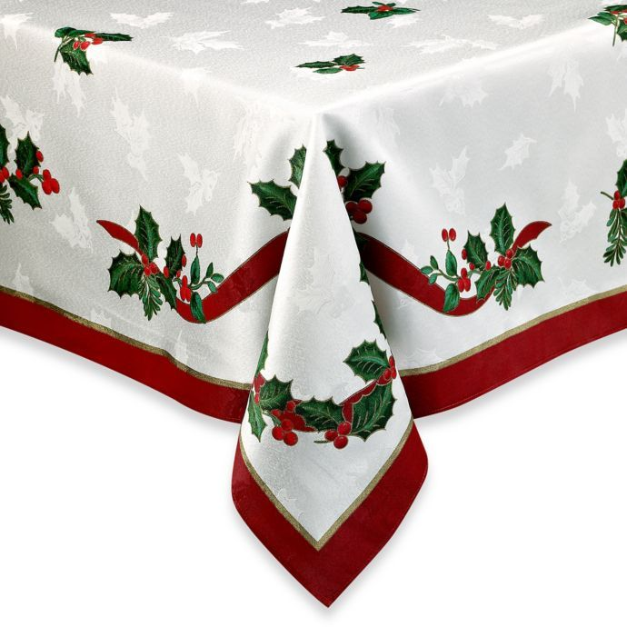 Holiday Ribbon Damask Tablecloth Bed Bath Beyond Christmas