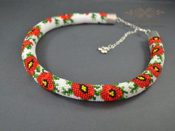 Poppies flower necklace Seed beads beaded Crochet rope Jewelry