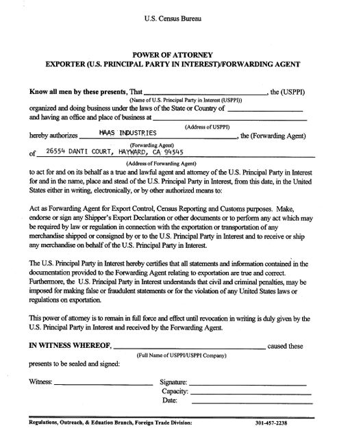 haas industries documents certificate of origin letter of attorney