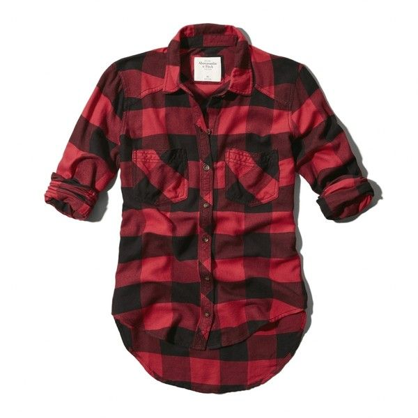 Abercrombie & Fitch Benni Flannel Shirt ($29) ❤ liked on Polyvore featuring tops, shirts, flannels, plaid, red and black plaid, button down top, button up shirts, plaid flannel shirt, plaid shirts and plaid button-down shirts