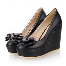 Nuevo 2014 otoño plataforma tacones altos cuñas zapatos de mujer moda mujeres del arco cuñas más el tamaño 34-43 zapatos de tacón alto de la bomba mujer(China (Mainland))