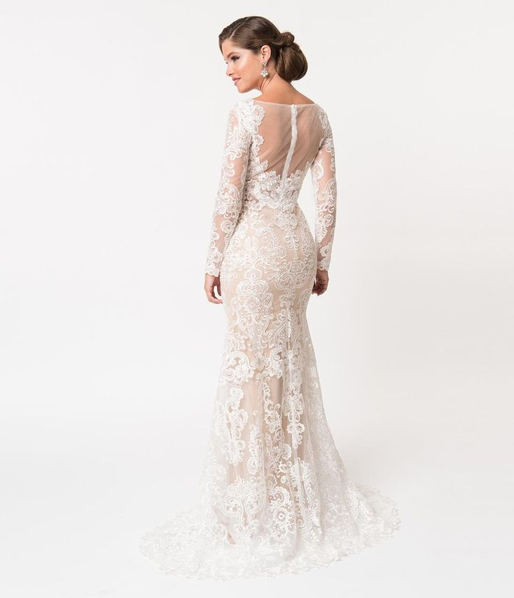 Simple Wedding Dress Hire: Ivory Lace & Beige Illusion Neckline Long Sleeved Fitted