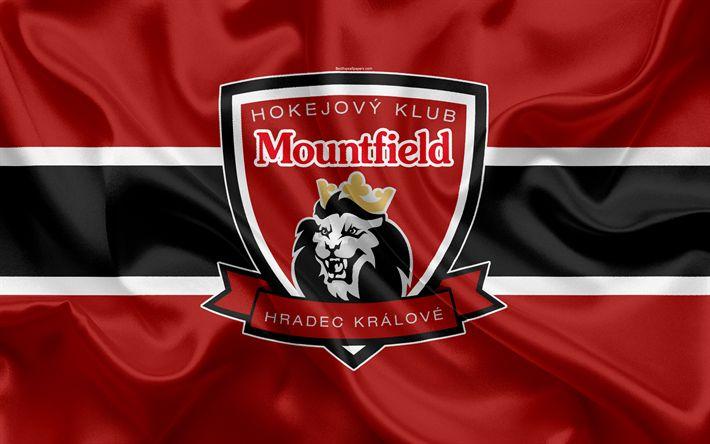 Download wallpapers Mountfield HC, 4k, Czech hockey club, emblem, logo, Czech Extraliga, silk flag, hockey, Hradec Kr?lov, Czech Republic, Mountfield HK