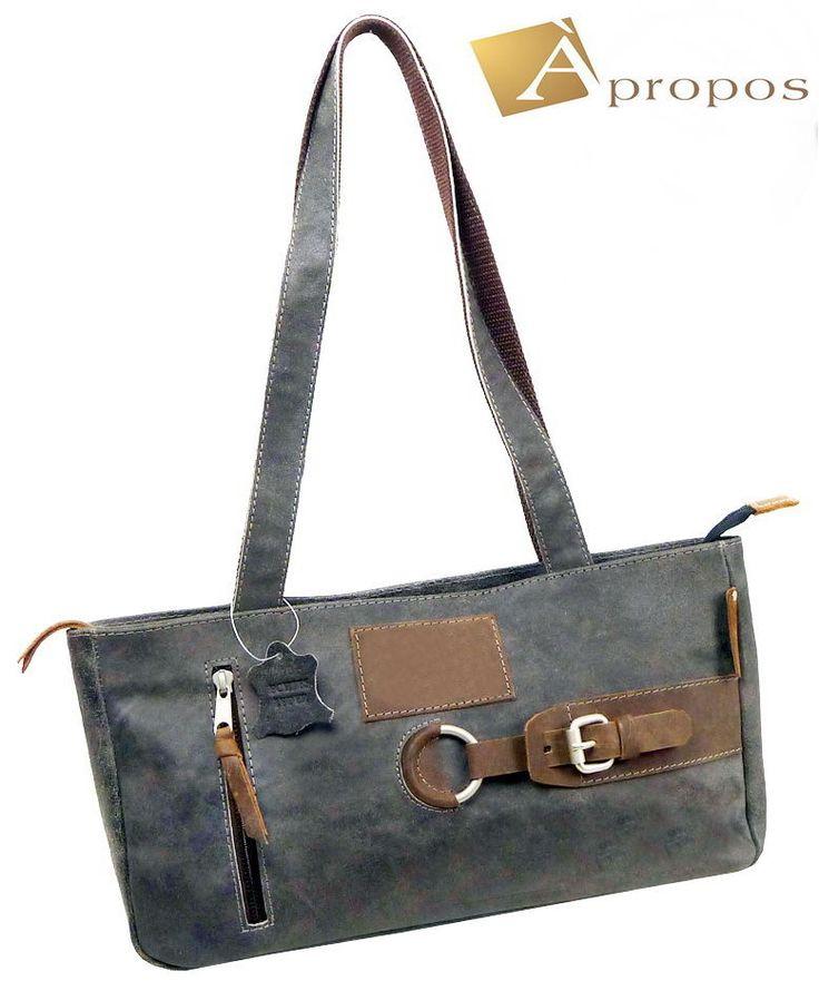 Vintage  Schultertasche 37cm Retro Wildleder Handtasche Shopper Grau