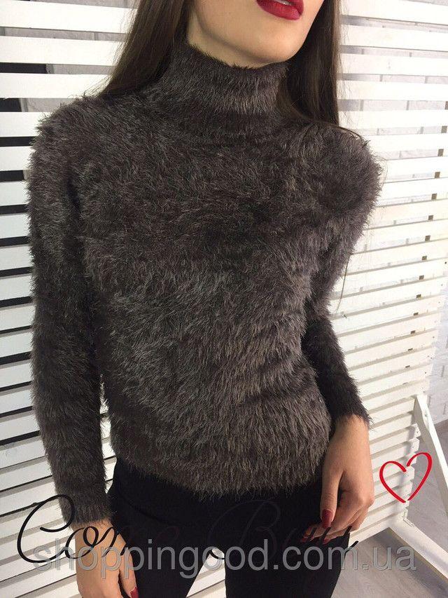 Вязанный свитер с воротником женский
