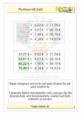Rechnen mit Geld (ZE,ZE€+E,ZE€) - ©2011-2016, www.mathiki.de - Ihre Matheseite im Internet #math #money #geld #euro #cent #arbeitsblatt #worksheet