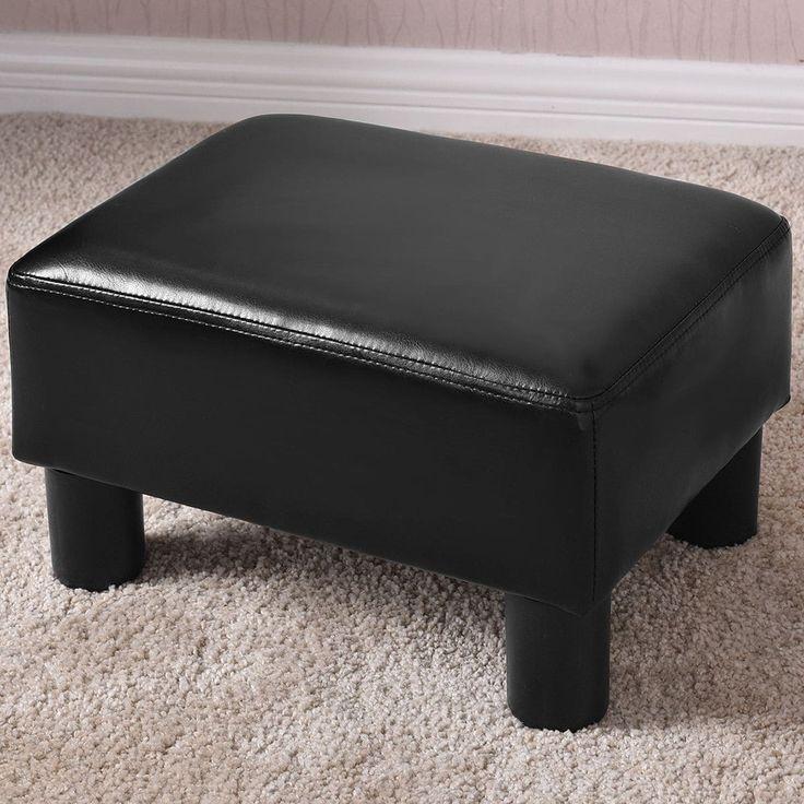 Costway Small Ottoman Footrest PU Leather Footstool Rectangular Seat Stool Black