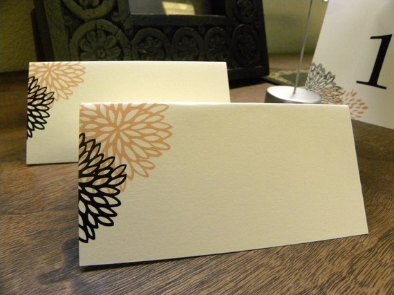 Peach and Black Floral Place cards  Tent style  Ivory by citlali