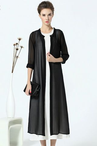 $68.99 Black Sheer Open Front Outerwear