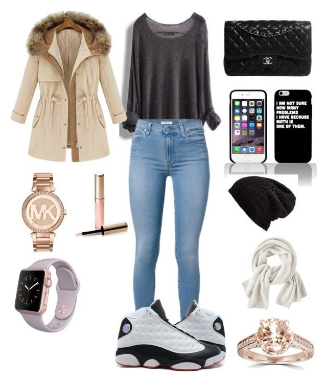 """""""rainy and cold day outfit"""" by ganae1203 ❤ liked on Polyvore featuring Chanel, Free People, Wrap, Michael Kors and By Terry"""