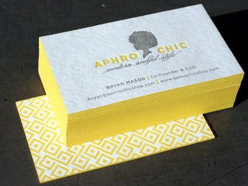 Aphro Chic - Who doesn't love #letterpress: Card Designs, Aphro Chic, Edge Painting, Graphics Design, Blotter Business, Bold Colors, Business Cards Design, Letterpresses Business Cards, Letterpress Business Cards