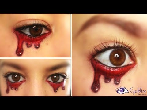 EASY Crying Blood Halloween Makeup Tutorial by EyedolizeMakeup - YouTube
