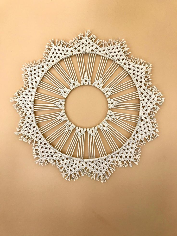 Macrame Wall Hanging Natural White Cotton Rope 14 Quot Brass