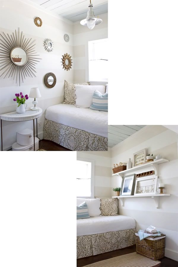 love the stripes!: Stripes Wall, Rooms Redo, Sunburst Mirror, Wall Of Mirror, Small Rooms, Letters Cottages, Beds Nooks, Guest Rooms, Reading Rooms