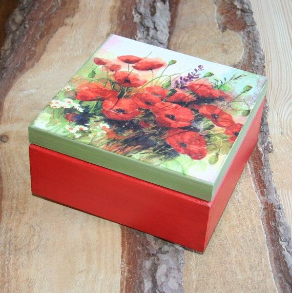 $14,Wooden box 'Poppy flower'