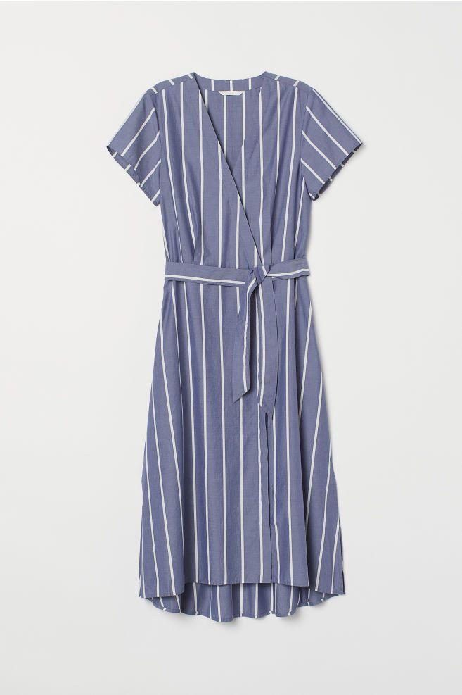 6b6c889121c V-neck Wrap Dress - Blue white striped - Ladies