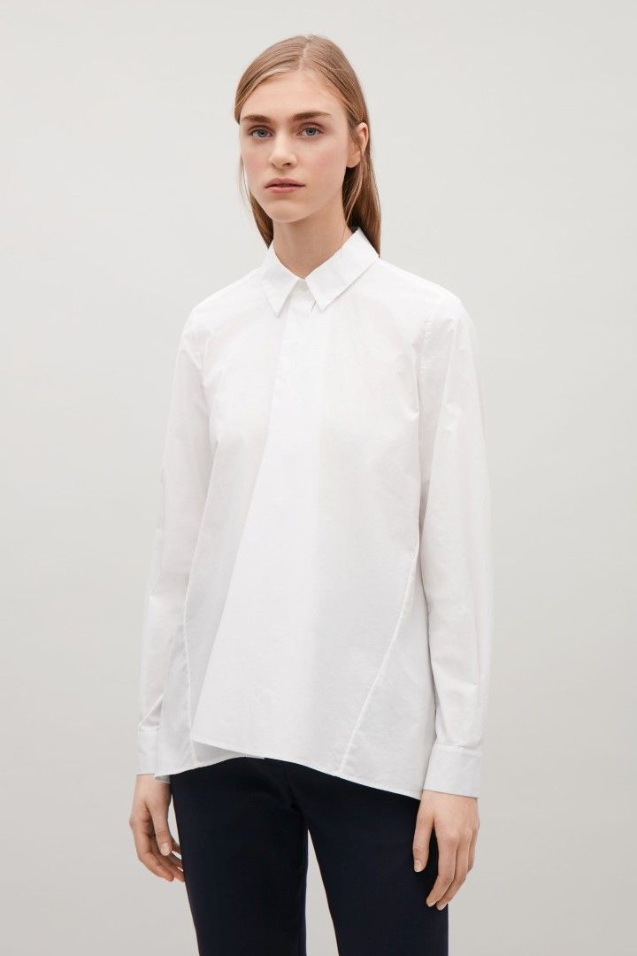 COS image 1 of Shirt with front drape  in White