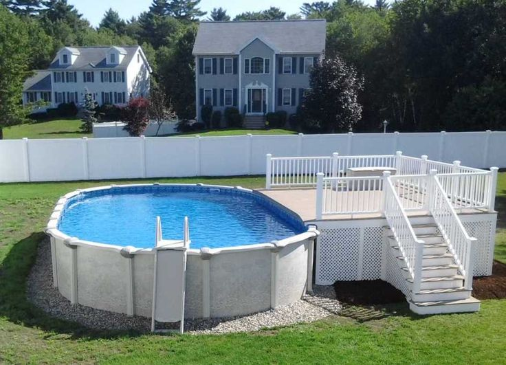 Momentous above ground pool deck ideas with pebble stone for Above ground pool vinyl decks