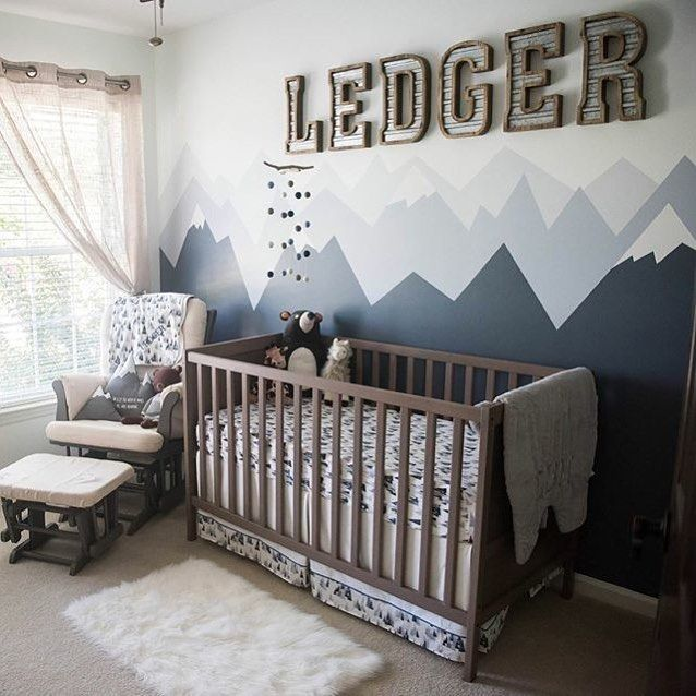 737 best gray nursery images on pinterest babies nursery for Mountain crib bedding