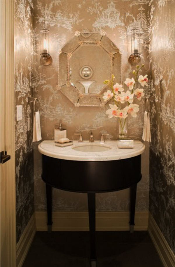 19 best powder room french country images on pinterest bathroom bathrooms and for the home for French country bathroom wallpaper