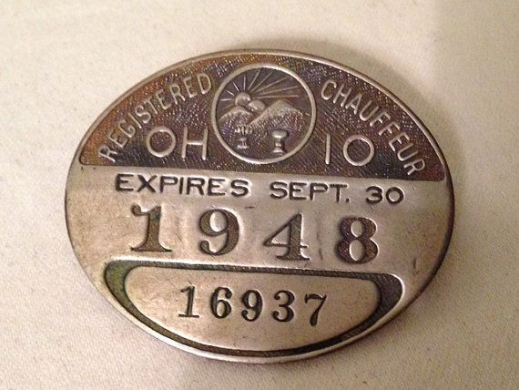Ohio State Badge | State of Ohio 1948 REGISTERED CHAUFFEUR'S BADGE by WadesRUs