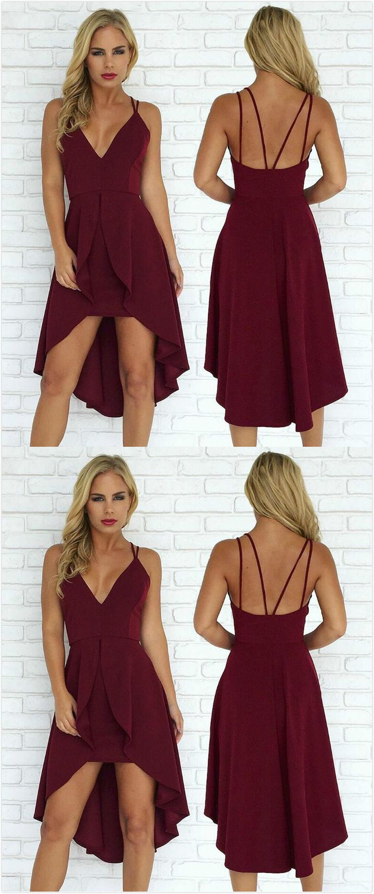 Burgundy Prom Dress,Sexy Straps Prom Dress, V Neck Prom Dress,Stain Prom Dress,Short Prom Dress,Sexy Homecoming Dress