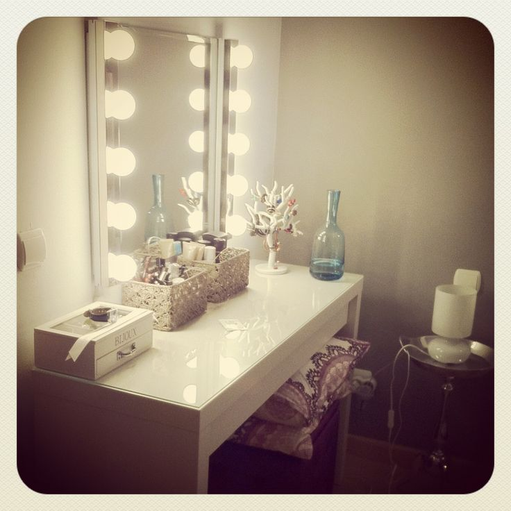Ikea dressing table vanity lights pinterest for Dressing table with lights
