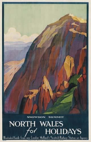 Roger Broders (1883-1953): North Wales for Holidays Snowdon Summit 1929