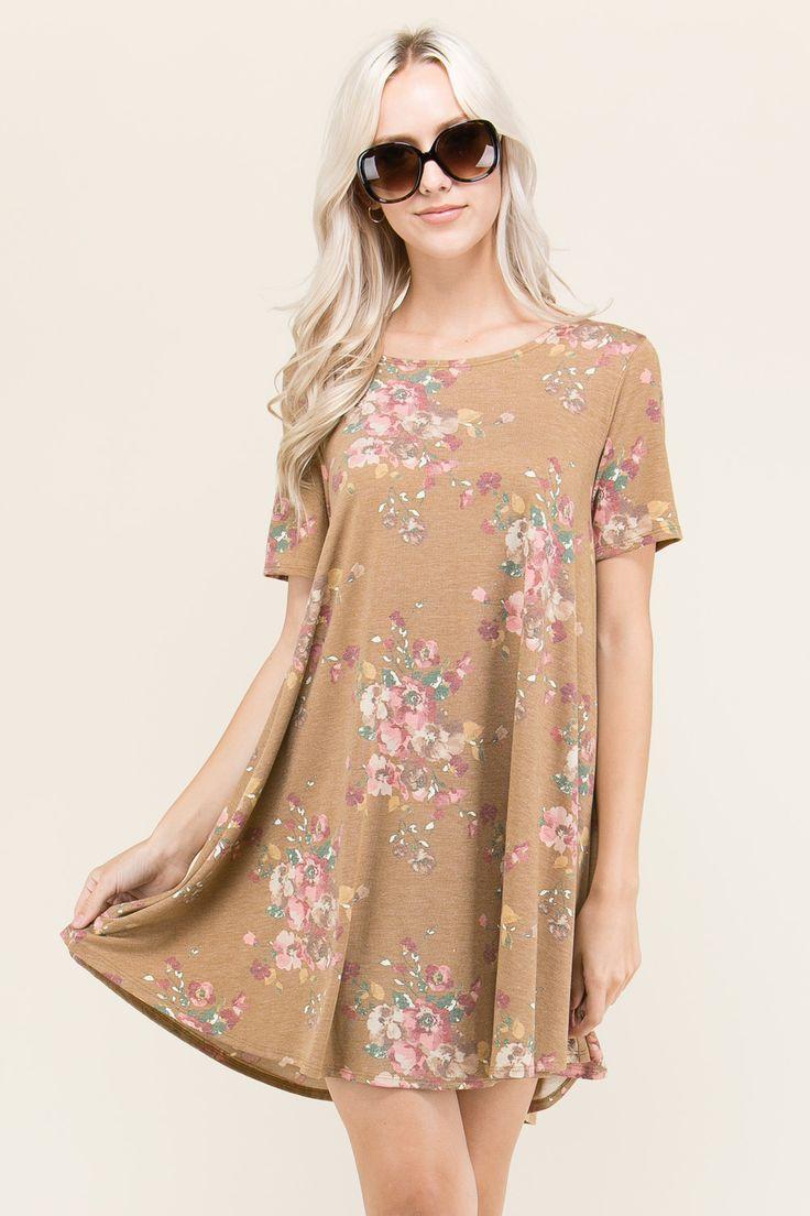 SHORT SLEEVED FLORAL DRESS BY TRES BIEN