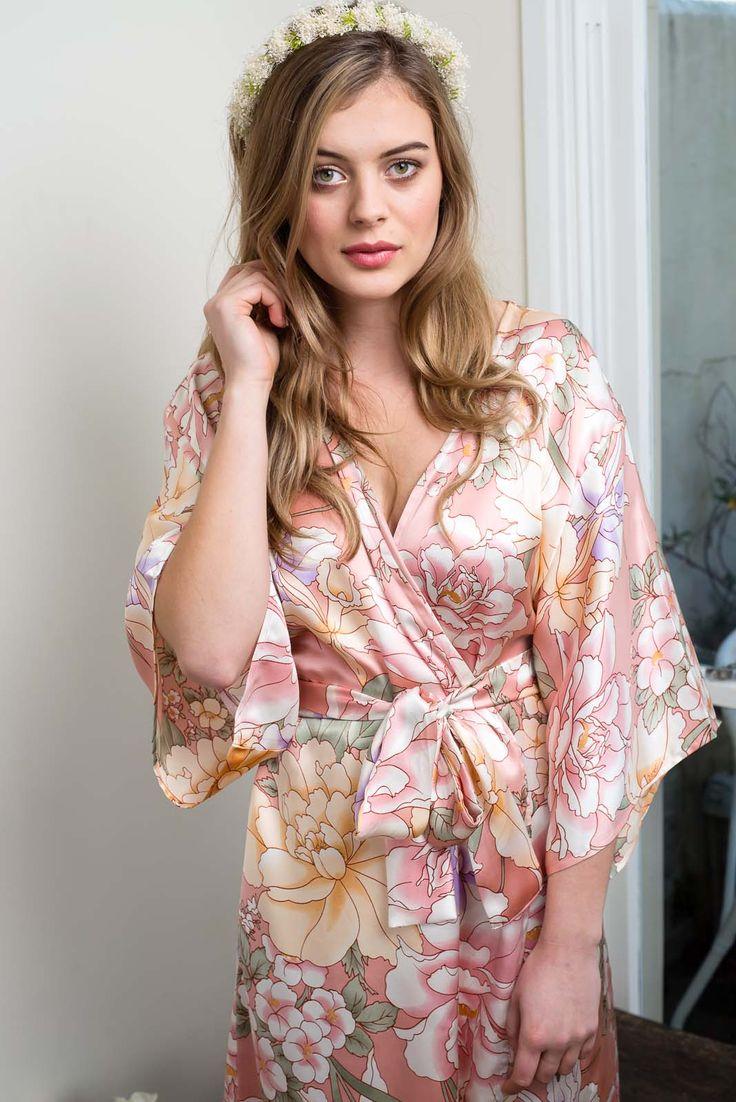 Rosalia Silk Kimono Robe   Knee Length - Ivy & Matilda