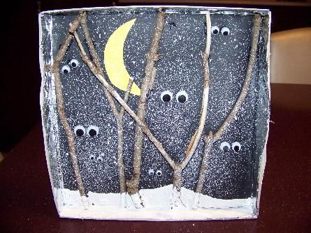 Read Forest Bright, Forest Night by Jennifer Ward. Then create this picture for nocturnal animals and allow students to draw and use wiggle eyes for the daytime picture...could attach the pictures together and hang in library or area of room or place in protective sheets and create a book.